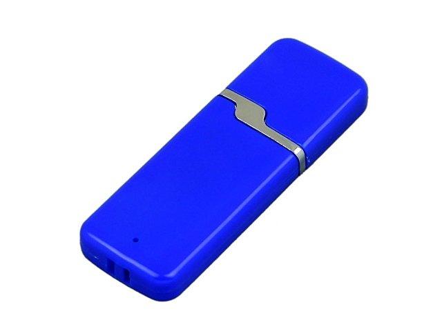 Флешка промо прямоугольной формы c оригинальным колпачком, 32 Гб, синий