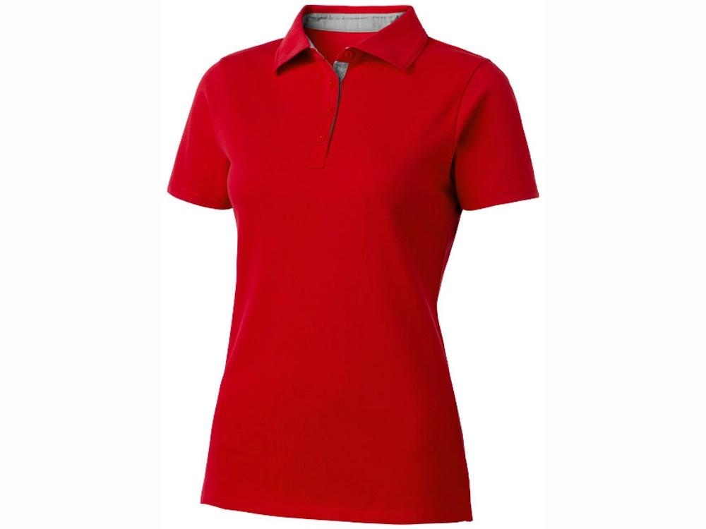 Поло женское с короткими рукавами Hacker, красный/серый