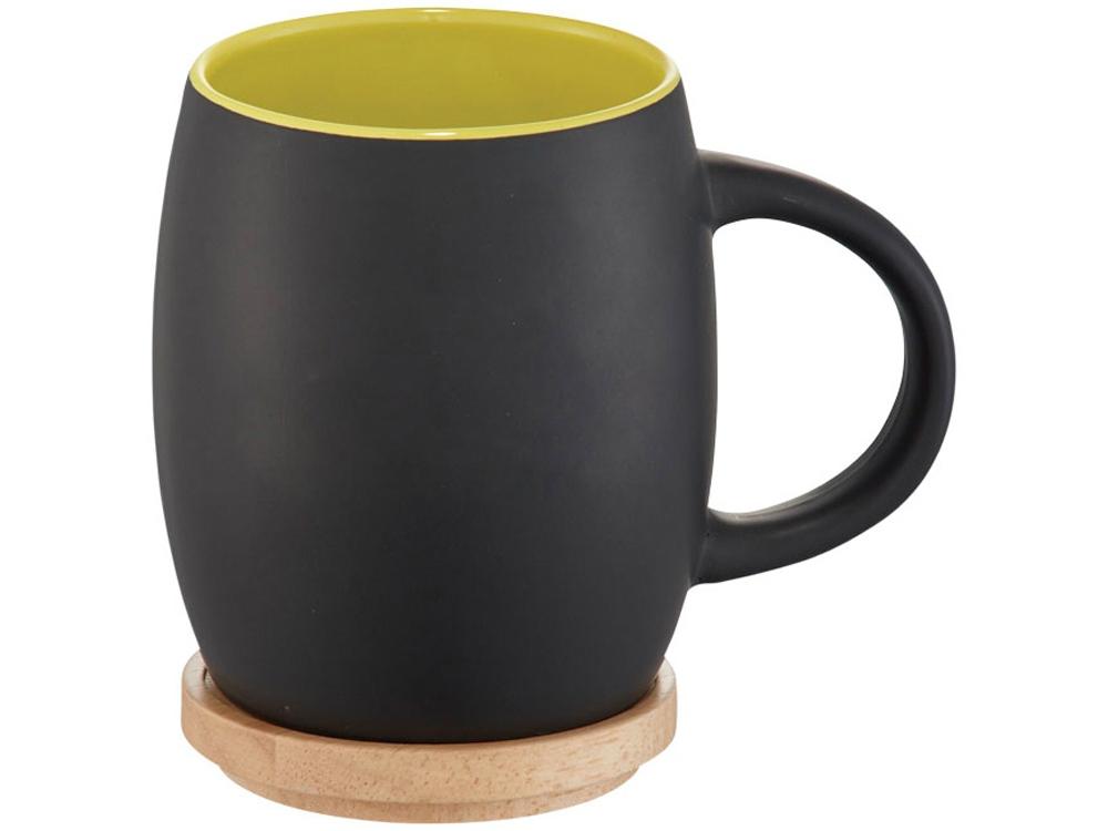 Керамическая чашка Hearth с деревянной крышкой-костером, черный/лайм