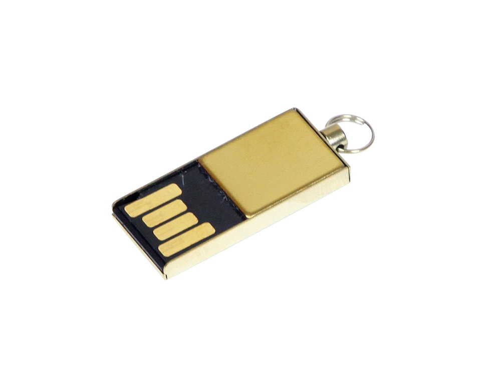 Флешка с мини чипом, минимальный размер корпуса, 16 Гб, золотистый
