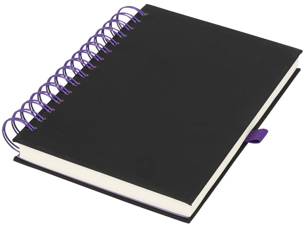 Блокнот Wiro, черный/пурпурный
