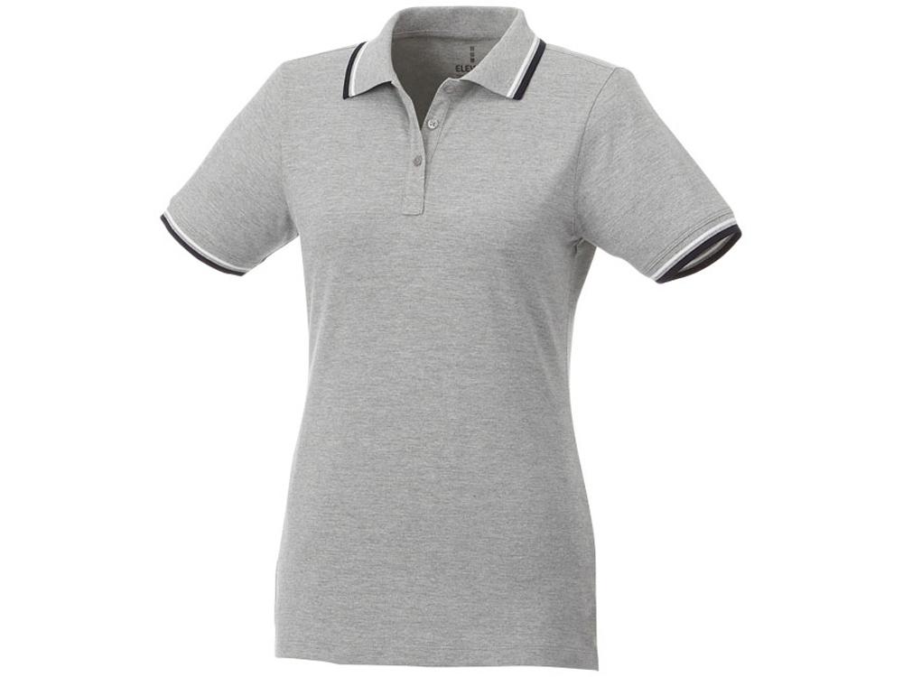 Женская футболка поло Fairfield с коротким рукавом с проклейкой, серый меланж/темно-синий/белый