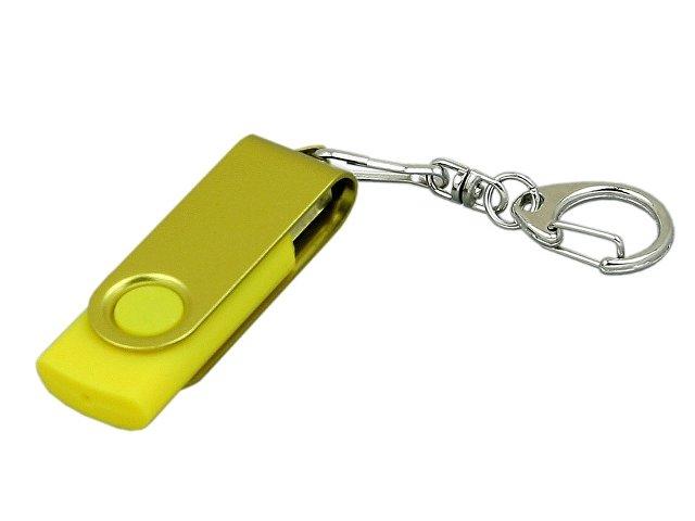 Флешка промо поворотный механизм, с однотонным металлическим клипом, 64 Гб, желтый