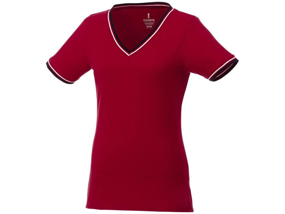 Женская футболка Elbert из пике с коротким рукавом и кармашком, красный/темно-синий/белый