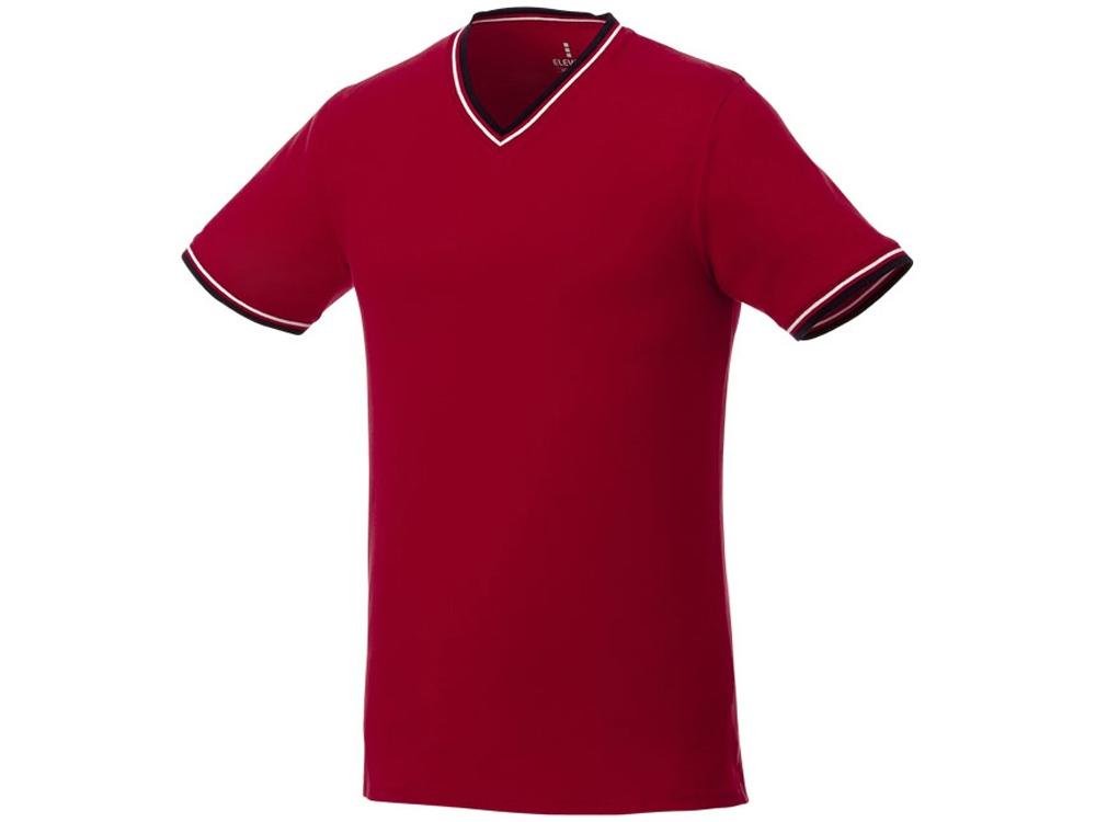 Мужская футболка Elbert с коротким рукавом, пике и кармашком, красный/темно-синий/белый
