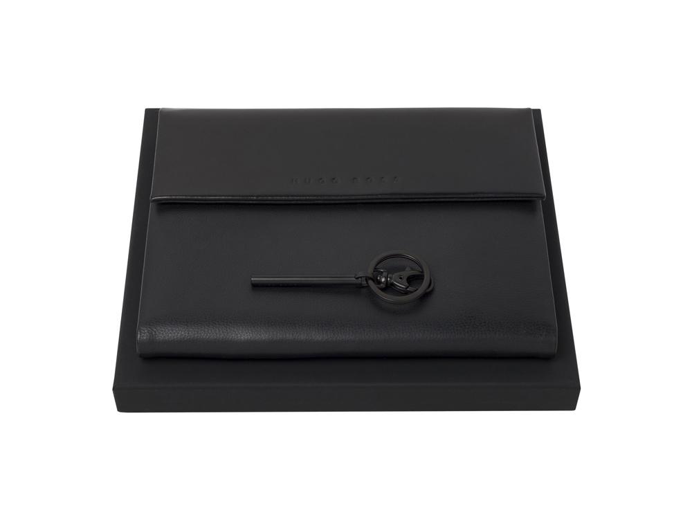 Подарочный набор: брелок, блокнот А5. Hugo Boss, черный