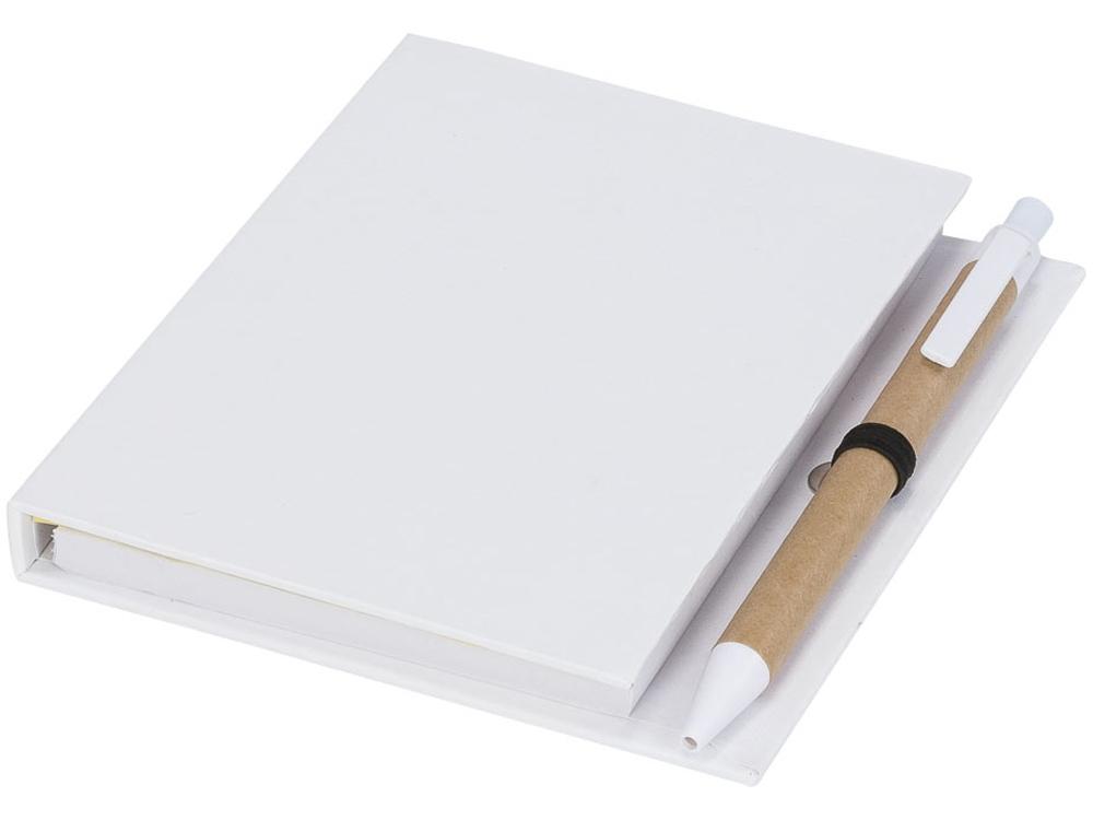 Цветной комбинированный блокнот с ручкой, белый