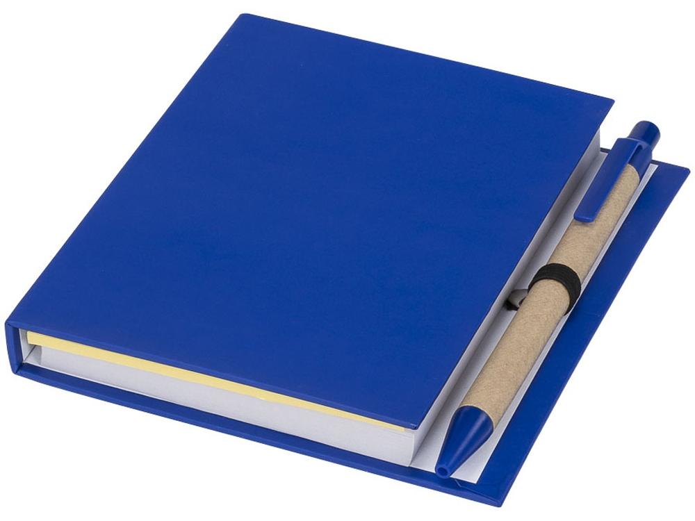 Цветной комбинированный блокнот с ручкой, синий