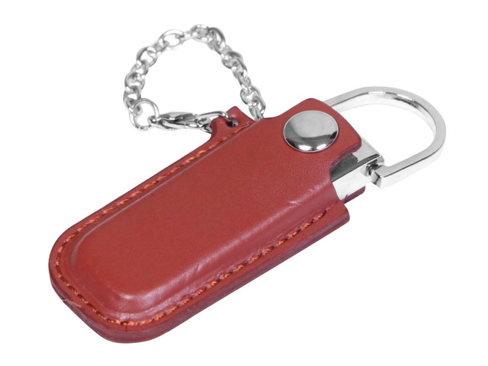 Флешка в массивном корпусе с кожаным чехлом, 16 Гб, коричневый