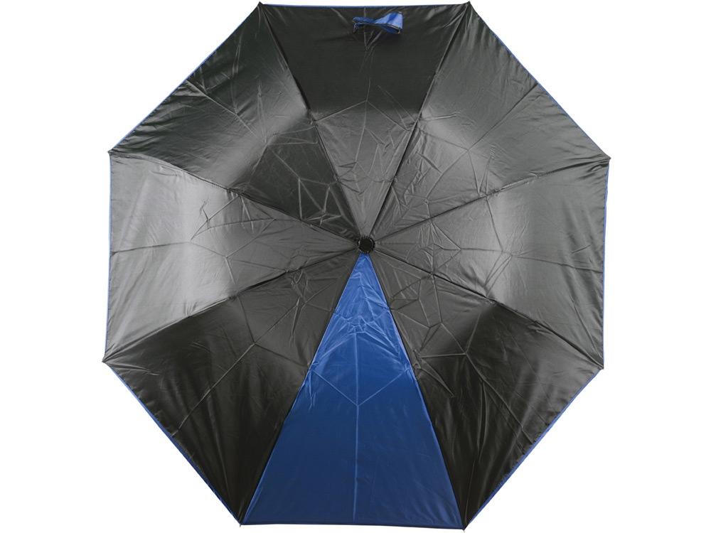 Зонт складной Логан полуавтомат, черный/синий