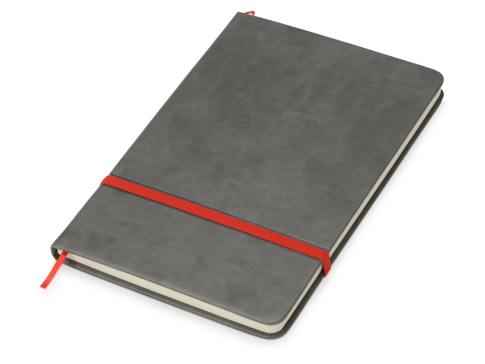 Блокнот Color линованный А5 в твердой обложке с резинкой, серый/красный