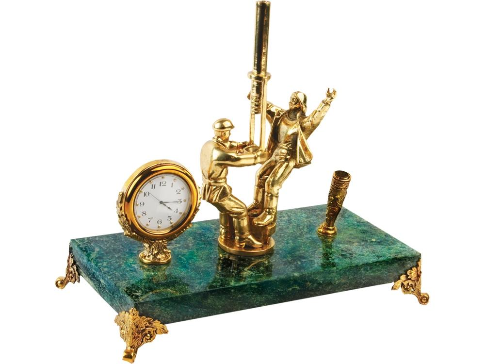 Настольный прибор Скважина, зеленый/золотистый