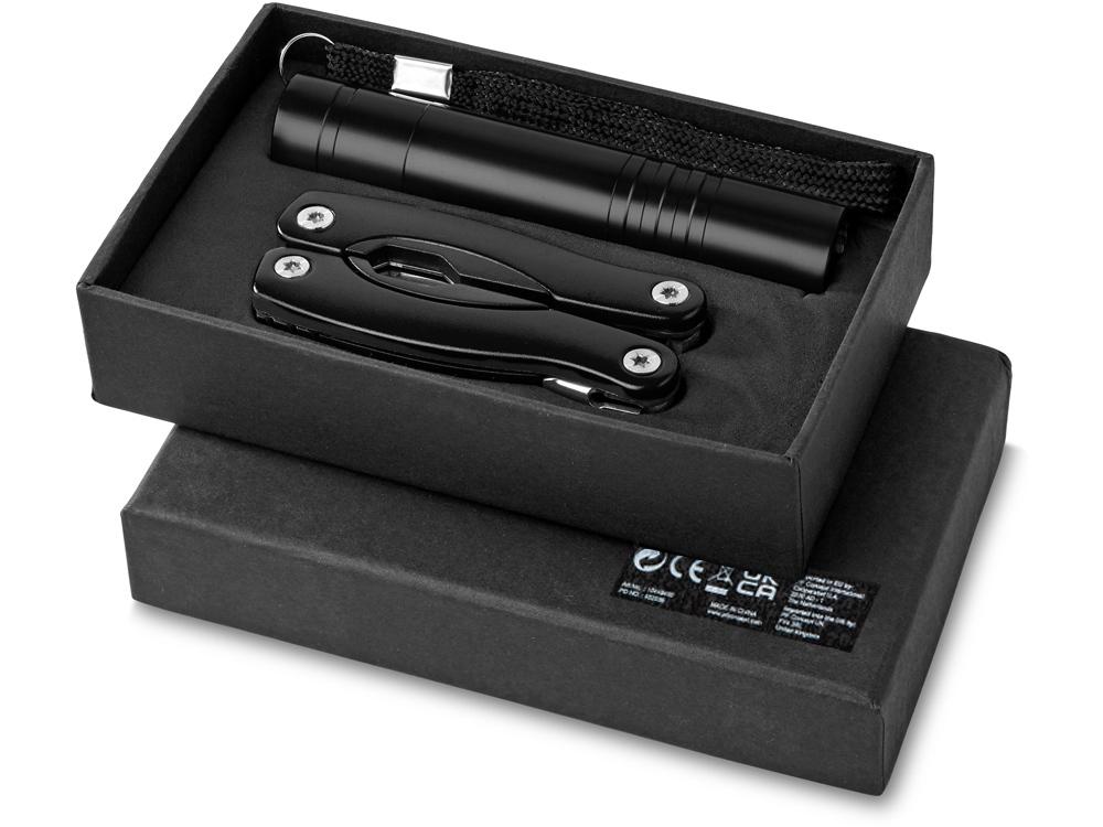 Подарочный набор Scout с многофункциональным ножом и фонариком, черный