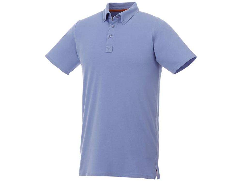 Мужская футболка поло Atkinson с коротким рукавом и пуговицами, светло-синий