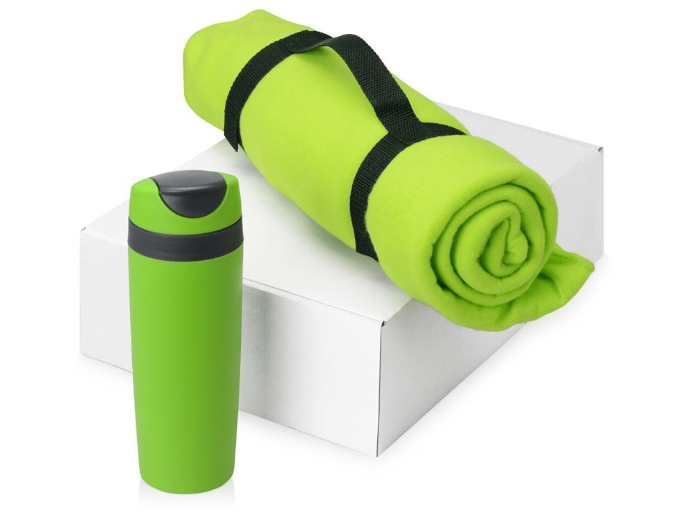 Подарочный набор Cozy с пледом и термокружкой, зеленый