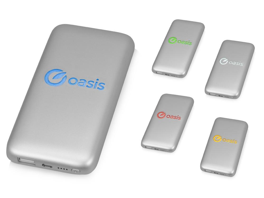 Портативное зарядное устройство XOOPAR BUBBLE BANG, 5 цветов подсветки, 5000 mAh, серебристый