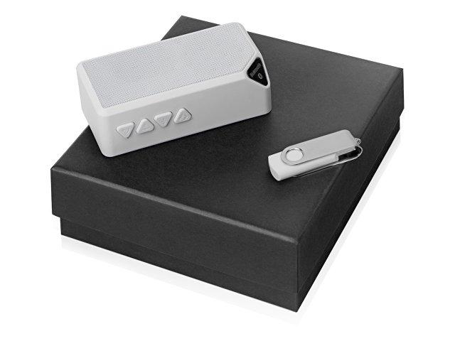 Подарочный набор Move-it с флешкой и портативной колонкой, белый