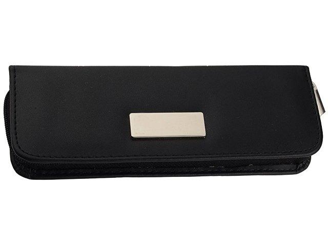 Набор «Рейн»: ручка шариковая, ручка роллер в футляре черный