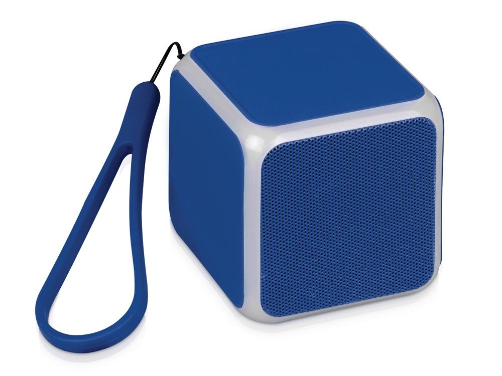 Портативная колонка Cube с подсветкой, синий