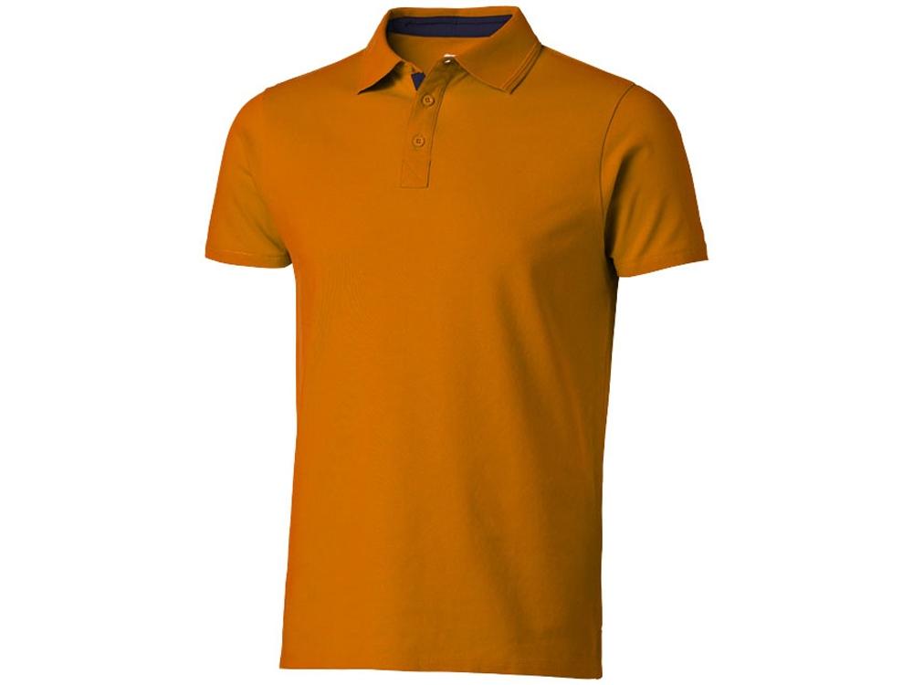 Поло с короткими рукавами Hacker, оранжевый/темно-синий