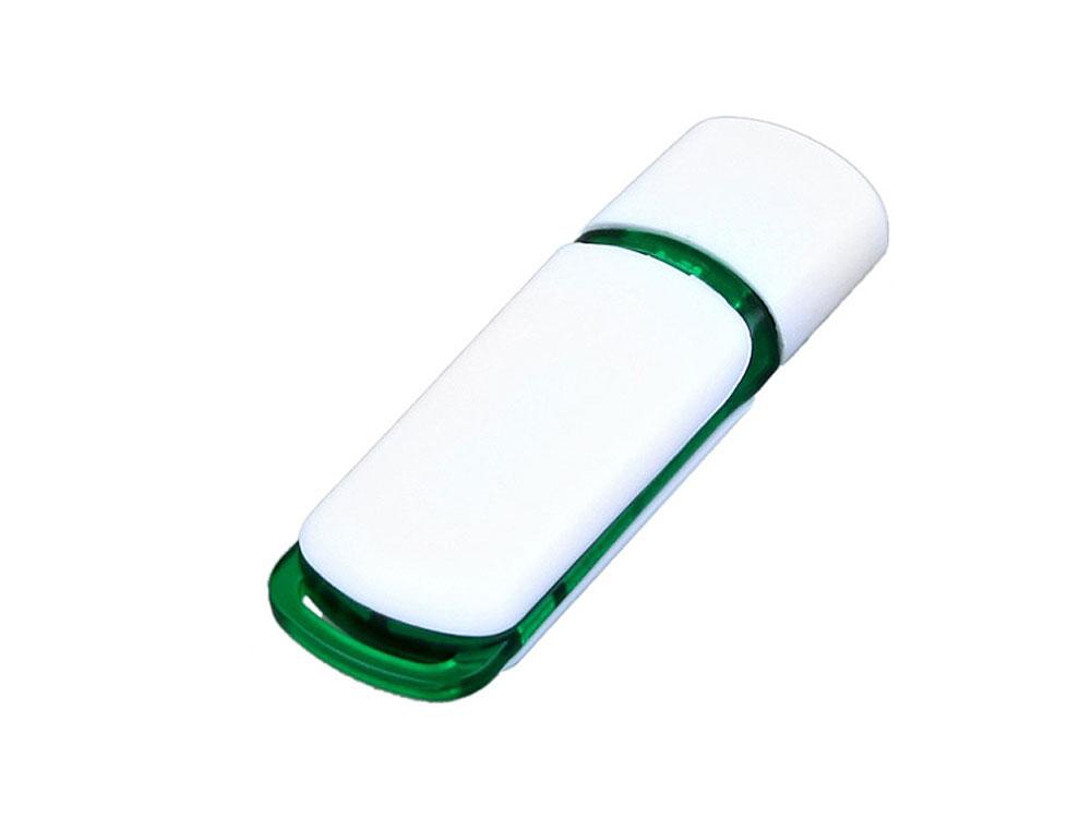 Флешка промо прямоугольной классической формы с цветными вставками, 64 Гб, белый/зеленый