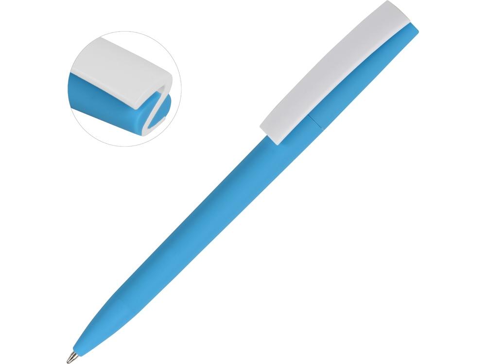 Ручка пластиковая soft-touch шариковая Zorro, голубой/белый