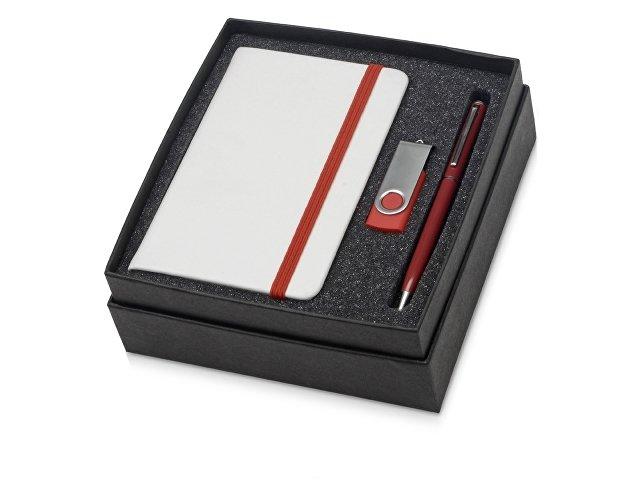 Подарочный набор Reporter Plus с флешкой, ручкой и блокнотом А6, красный