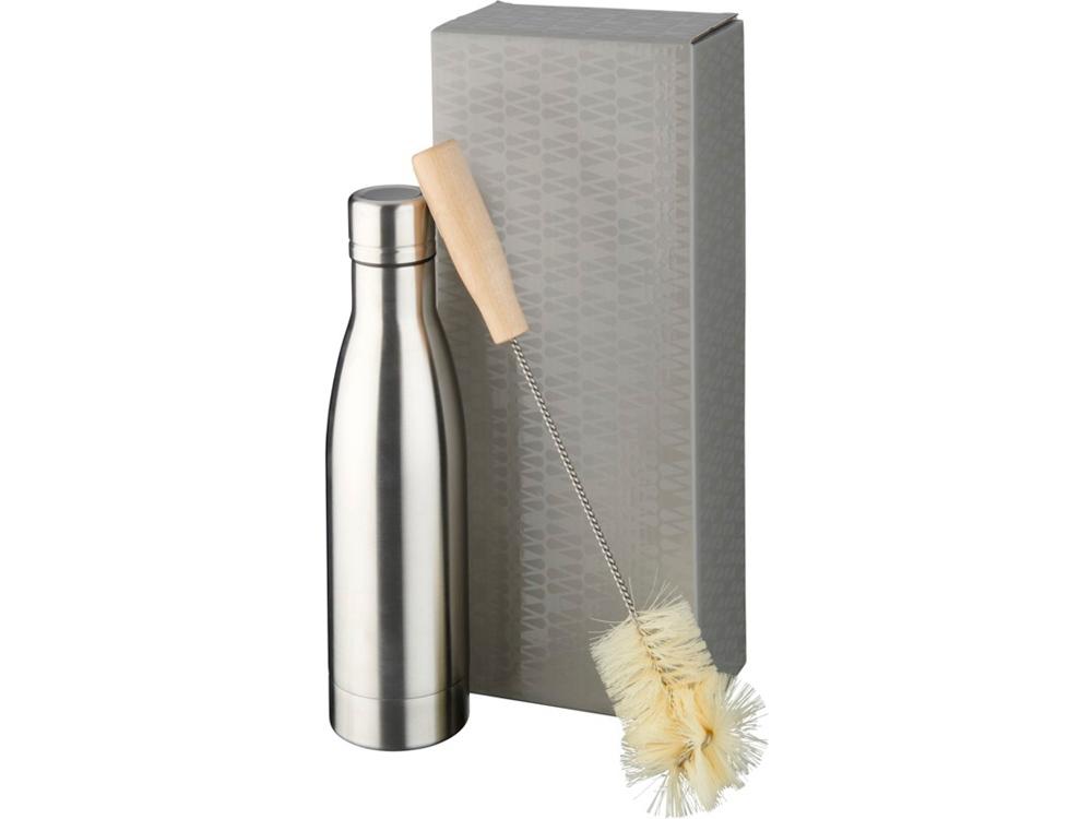 Набор из медной бутылки с вакуумной изоляцией Vasa и щетки, серебристый