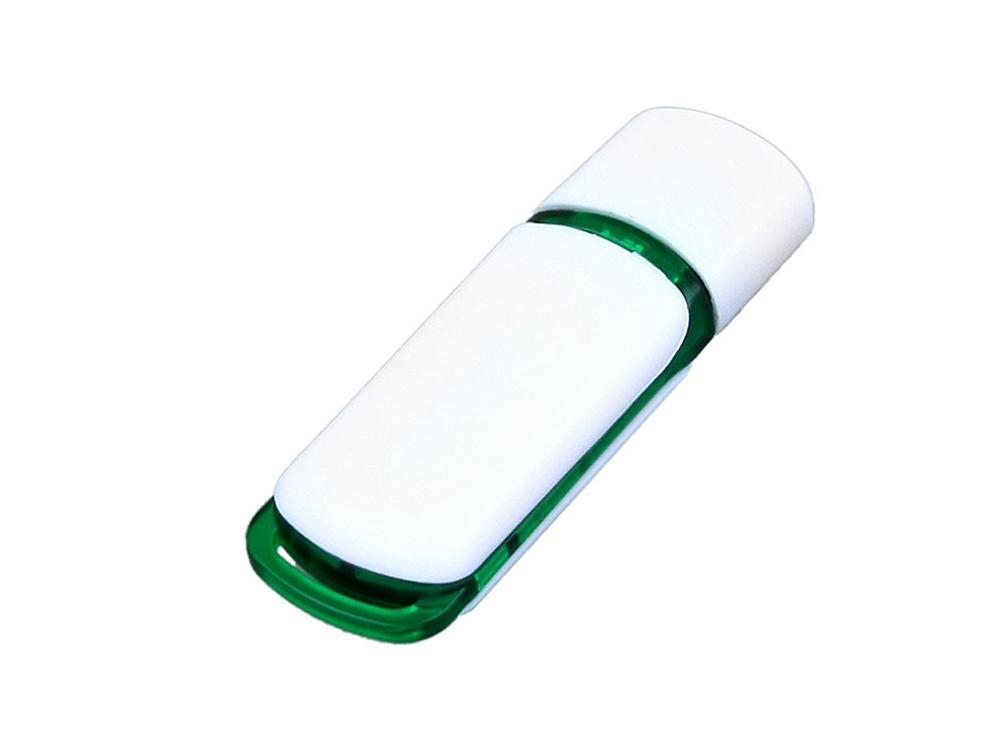 Флешка промо прямоугольной классической формы с цветными вставками, 16 Гб, белый/зеленый