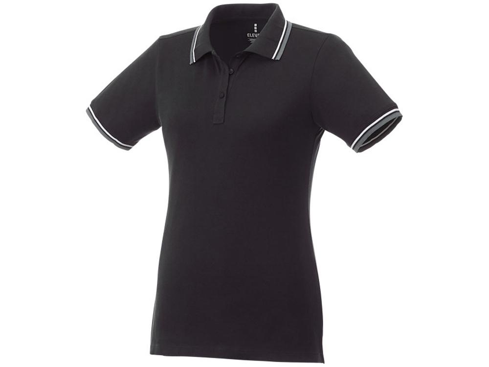 Женская футболка поло Fairfield с коротким рукавом с проклейкой, черный/серый меланж/белый