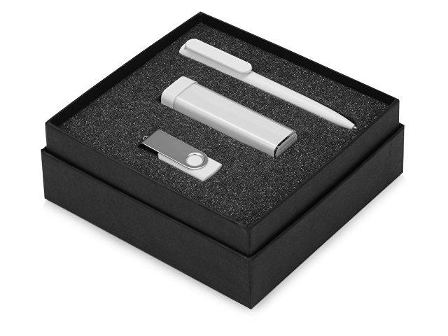 Подарочный набор On-the-go с флешкой, ручкой и зарядным устройством, белый