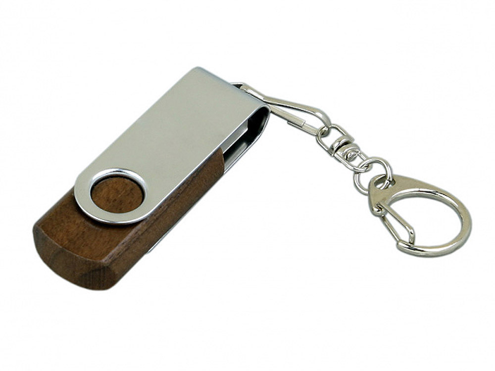 Флешка промо поворотный механизм, 64 Гб, коричневый