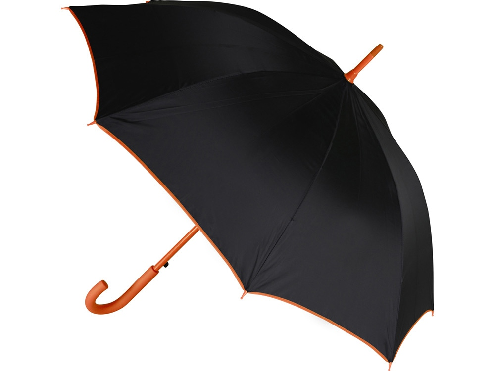 Зонт-трость полуавтоматический, оранжевый