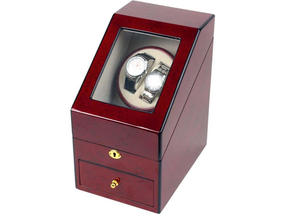 Шкатулка для часов с автоподзаводом Давос, красное дерево