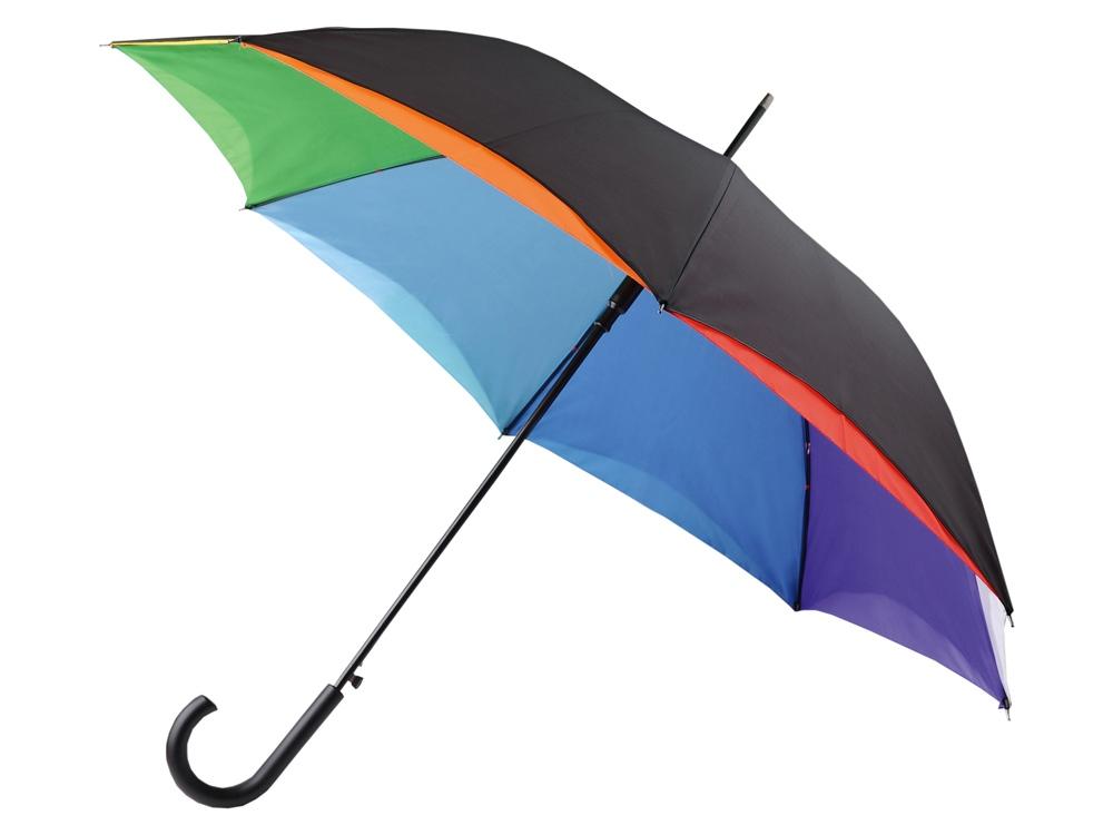 Зонт-трость Радуга, черный/разноцветный