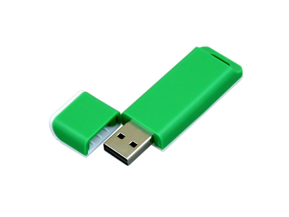 Флешка прямоугольной формы, оригинальный дизайн, двухцветный корпус, 64 Гб, зеленый/белый