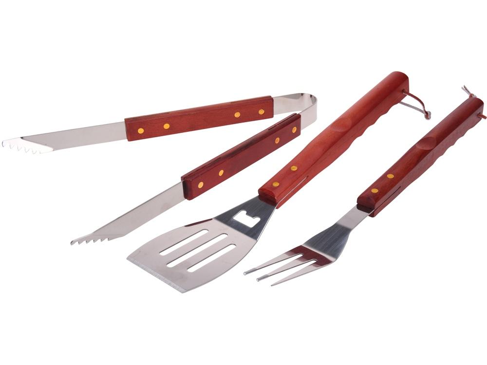 Набор аксессуаров для барбекю из трех предметов Roast, серебристый/коричневый