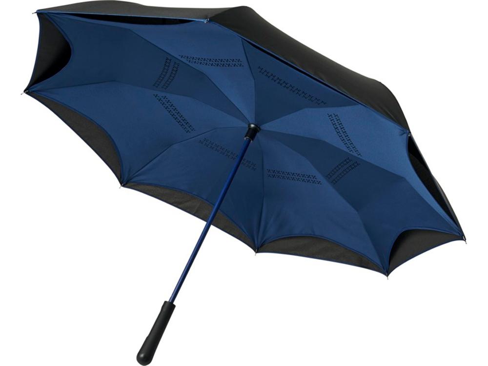 Прямой зонтик Yoon 23 с инверсной раскраской, темно-синий