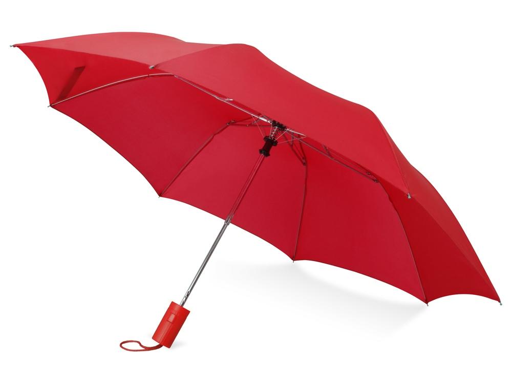 Зонт складной Tulsa, полуавтоматический, 2 сложения, с чехлом, красный (Р)