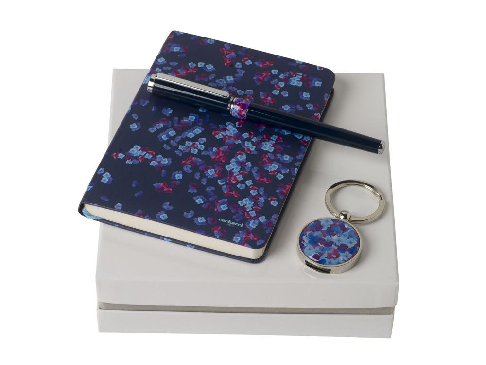 Подарочный набор Blossom: брелок с USB-флешкой на 16 Гб, блокнот A6, ручка-роллер. Cacharel