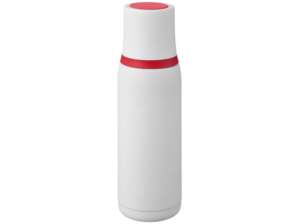 Вакуумный термос Flow, белый/красный
