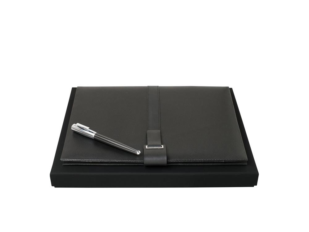 Подарочный набор: папка с бумажным блоком А4, ручка-роллер. Hugo Boss