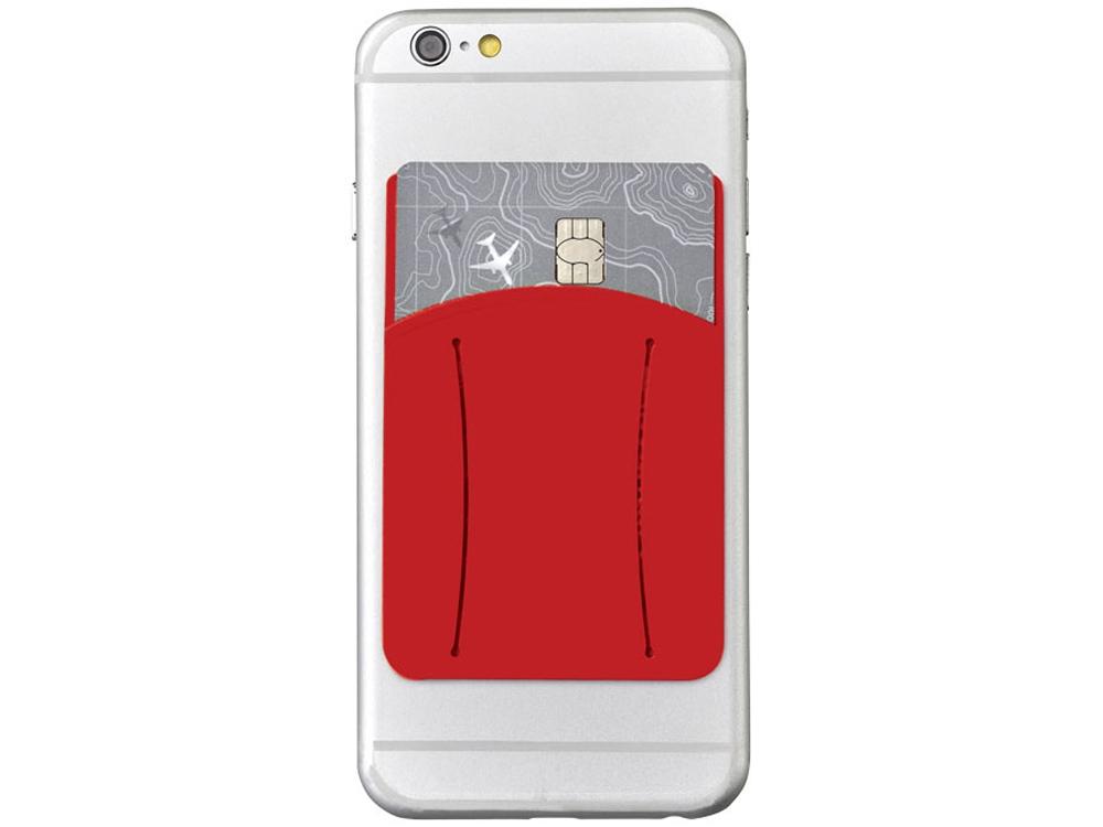 Картхолдер для телефона с отверстием для пальца, красный