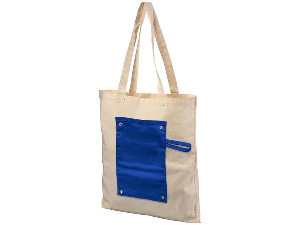 Хлопковая рулонная сумка-тоут на кнопках, натуральный/синий
