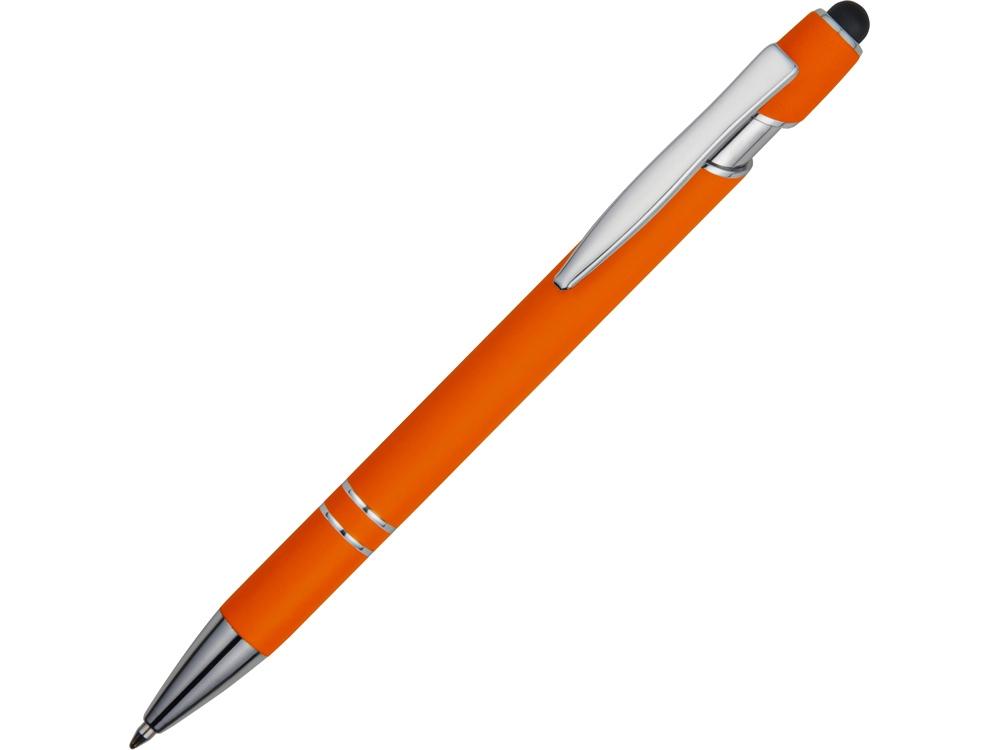 Ручка металлическая soft-touch шариковая со стилусом Sway, оранжевый/серебристый