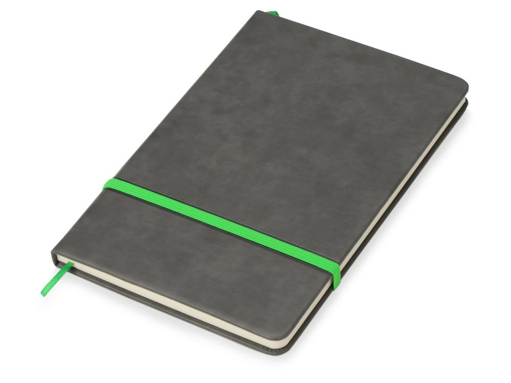 Блокнот Color линованный А5 в твердой обложке с резинкой, серый/зеленое яблоко