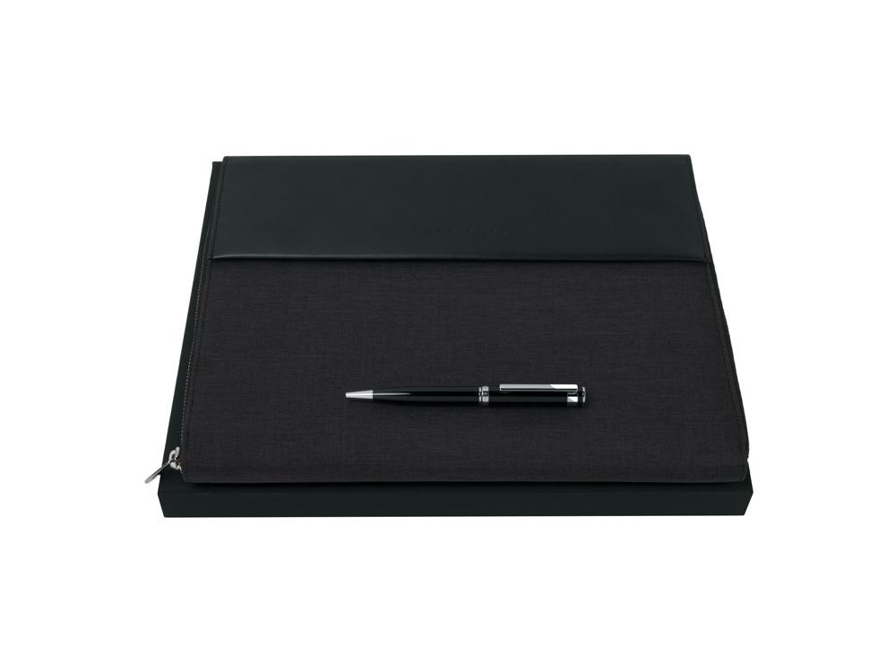 Подарочный набор: ручка шариковая, папка для конференций А4. Hugo Boss, черный