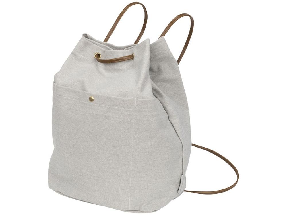 Рюкзак со шнурками Harper из хлопчатобумажной парусины, светло-серый