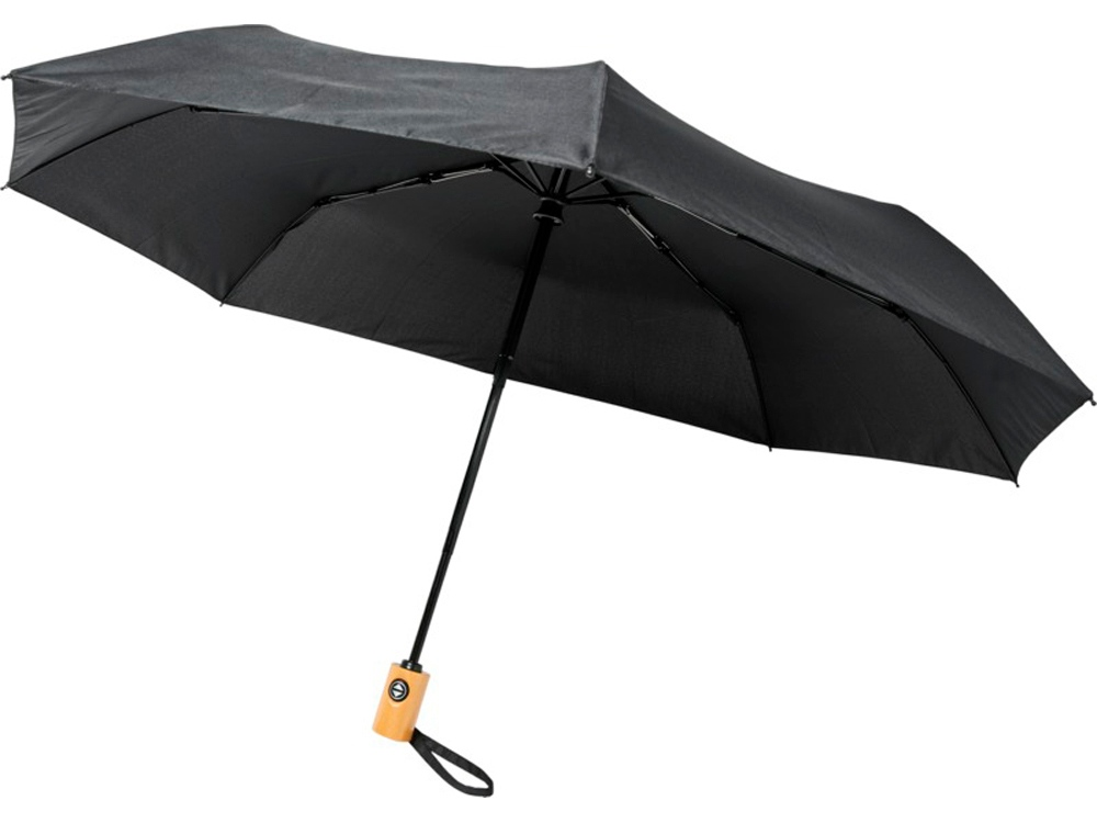 Автоматический складной зонт Bo из переработанного ПЭТ-пластика, черный