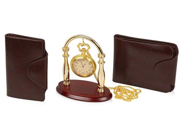 Набор «Фрегат»: портмоне, визитница, подставка для часов, часы н